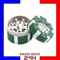 Grinder Herbe Jetons de poker Vert moulin broyeur tabac Plastic Fer fumeur wee2
