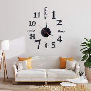 DIY Large 3D Numerals Wall Clock Surface Mirror Sticker Home Office Decor UK