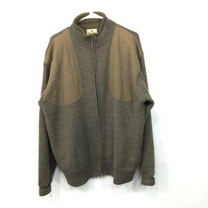 Beretta 100% Wool Full Zip Brown Sweater Shooting Hunting Jacket Men's Large