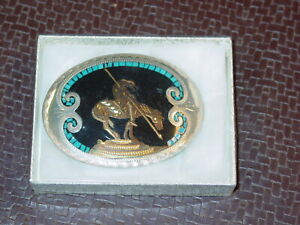 Johnson & Held BELT BUCKLE: End of the Trail with Indian & Horse BRAND NEW tags