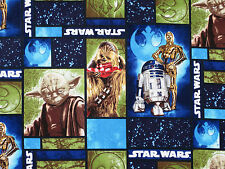 STAR WARS R2 D2 ROBOT YODA CHEWBACCA CAMELOT 100% COTTON FABRIC QUILTING YARDAGE