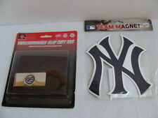 NWT NY Yankees Men's Wallet Brass Money Clip Gift Set Brown Tri-Fold Team Magnet