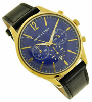 Orologio Cronografo LANCASTER 38 mm Gold Blue Unisex Chrono Watch RRP €160 New