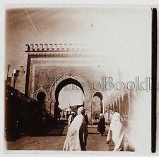 Maroc FEZ Porte Plaque de verre stéréo 45x107mm Vintage ca 1910