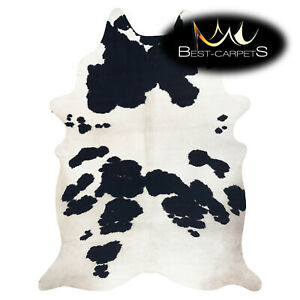 AMAZING artifical Cowhide Rug piebald Cow printed white black Large size Carpet