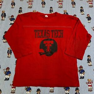 Vintage 70s 80s Atrex Texas Tech Football 3/4 Sleeve Red T-shirt LARGE Cotton