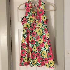 LILLY PULITZER GIRLS LINED DRESS SZ 14 Yellow Pink Grn White