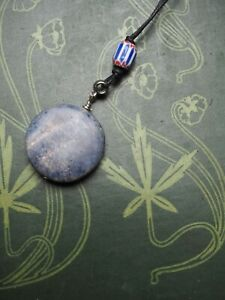 Vintage Blue Coral Pendant On Cord -Sea Priestess - Pagan, Wicca, Witchcraft