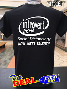 Social Distancing Corona T Shirt Covid Quarantined Introvert Funny Black