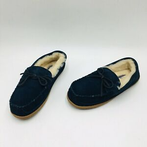 Lands' End Men's Shearling Moccasin Slippers - Classic Navy Suede