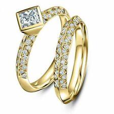 Ring Set Women Wedding Jewelry Sz 6 Fashion Men's 18K Gold Filled White Sapphire