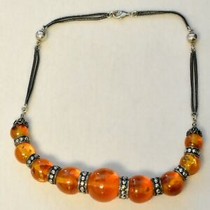 """Sterling Silver Amber Necklace 17.5"""" 52.8G"""