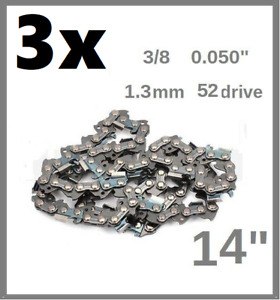 "3PCS 14"" 35cm Chain saw 1.3MM 3/8 0.05 52 Oregon 91P052X   FPCSP38 & FPCS1800"
