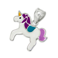 925 Sterling Silver Pendant -Colourful Unicorn-WithOUT Chain-19x14mm-Gift Boxed