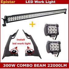 "52"" 300W LED Light Bar+ 4"" 18W CREE Spot Lights + Bracket for Jeep JK Wrangler"