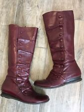 Mis Mooz Bloom Burgundy Leather Side Zip Tall Boots Buttons Victorian Sz US 9