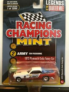 1/64 RACING CHAMPIONS ARMY DON PRUDHOMME 1973 PLYMOUTH CUDA FUNNY CAR LEGENDS