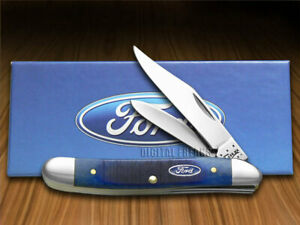 Case xx Ford Medium Jack Knife Blue Bone Handle Stainless Pocket Knives 14303
