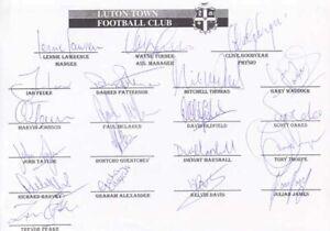 Luton Town FC - Signed Team Sheet - COA (14919)