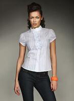 Chemise chemisette Blanc Jabot manches courtes femme NIFE K26 36 38 40 42
