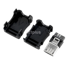10 Pcs Micro USB 3 Pin Male Connector Port Solder Plug Plastic Cover for DIY