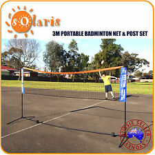 Portable Badminton Net & Post Set Half Court Size 3 Meters by 155 Cm Height