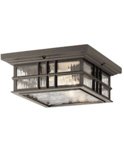 2-Light Olde Bronze Outdoor Flush Mount Light w/ Clear Hammered Glass by KICHLER