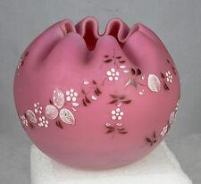 Fenton Pink Satin Art glass Rose Bowl Crimped Edge hand Painted Vase Mint