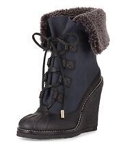 TORY BURCH SALE Fairfax Lamb Shearling Fur Wedge Duck Winter Boot Black Blue 5