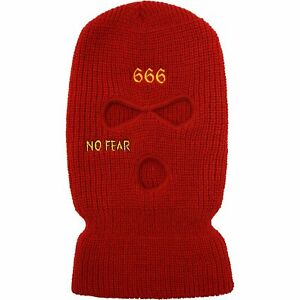 Prolific Red 100% Acrylic Embroidered No Fear Ski Mask One Size