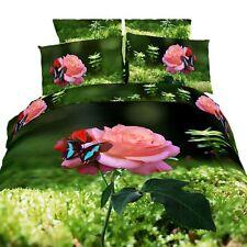 3D Luxury Cotton Butterfly Rose Duvet Bedding Cover Set Dolce Mela King Size