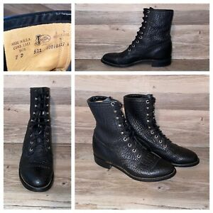Vtg Justin Black Pebble Leather Lace Up Roper Boot Mens 7 D Style 522 USA Made