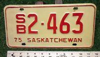 SASKATCHEWAN  - 1975 School Bus license plate - nice original