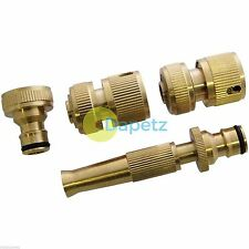 4 Piece Brass Hose Tap Fitting Connecter Set High Quality For Gardening Plumbing