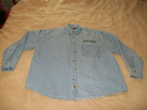 """HARLEY-DAVIDSON """"POLICE"""" LONG SLEEVE DENIM BUTTON DOWN / SIZE: M / EMBROIDERED"""