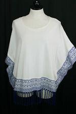 STYLUS White Blue Short Slv Boho Festival Embroidered Fringe Blouse Top Large