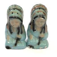 Vintage Native American Chalkware Salt And Pepper Shakers