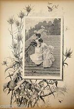 Gustave FRAIPONT GRAVURE N&B A LA CAMPAGNE Chardons insectes Paris Illustré 1885