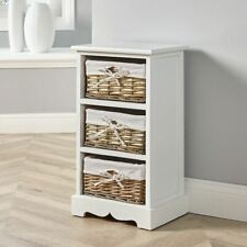 White Wooden 3 Drawer Chest Storage Unit Willow Wicker Baskets Bedside Seconds