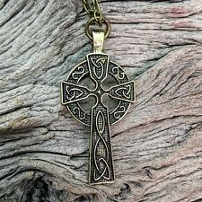 Antique Gold Tone Celtic Cross Pendant Necklace