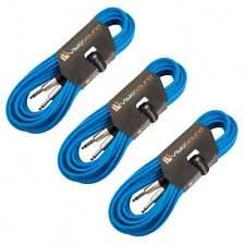 3 x Câble guitare Jack à Jack mono 6,35mm / Instrument / Câble patch / 10m Bleu