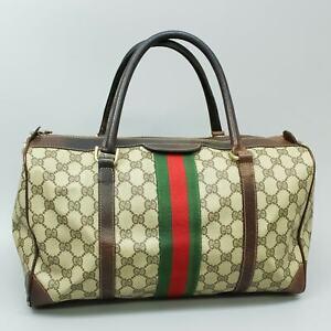 GUCCI GG Pattern PVC Canvas Sherry Webbing Boston Hand Bag Purse Vintage