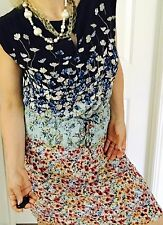 ESPRIT WOMENS DRESS FLORAL PRINT LINED VISCOSE POLY SLEEVELESS KNEE LENGHT SZ 16