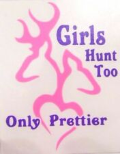 Girls Hunt Too Only Prettier Car Window Vinyl Decal Sticker PINK & PURPLE ONLY