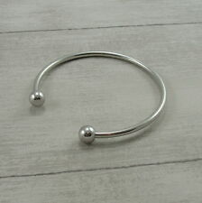 Silver Plated Charm Bangle - Silver Cuff Bracelet Ball End Bangle NEW