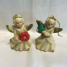 2 Vintage Homco Angel Ornaments - Christmas Tree With Star and Poinsettia