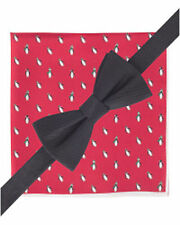 Tommy Hilfiger Mens Black Silk Bow Tie Pocket Square Set Penguin A3491