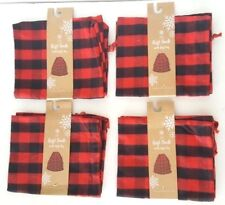 "4 Pack Christmas Gift Sack Tote Bag with Gift Tag, Red & Black Plaid - 15""x18"""
