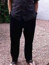 New 100% raw Silk 2X Black Pants  Unisex ladies men casual drawstring nwt pocket