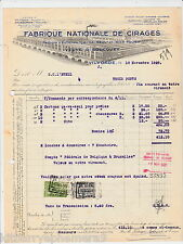 4064 Fabrique Nationale de Cirages thermography printing 1928 billhead Vilvorde